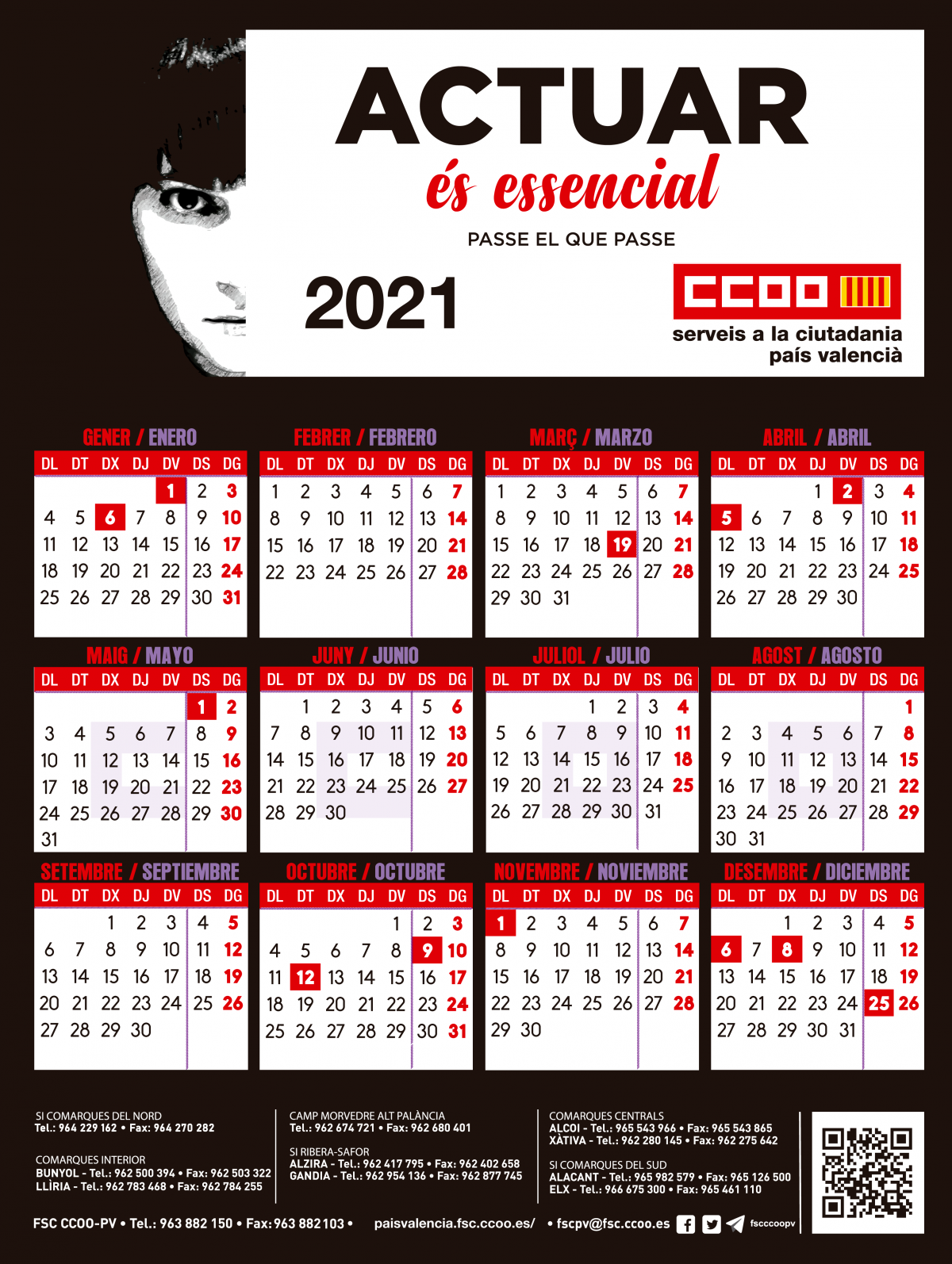 Calendario de pared FSC CCOO PV